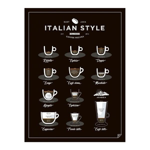 Plakat Italian Style Coffee 50x70 cm