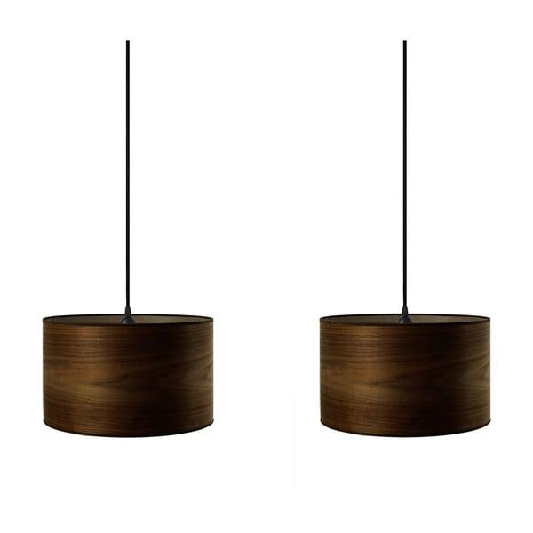 Podwójna lampa wisząca w kolorze drewna orzechowego Sotto Luce TSURI
