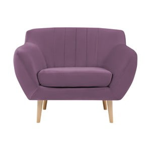 Fioletowy fotel z jasnymi nogami Mazzini Sofas Sardaigne