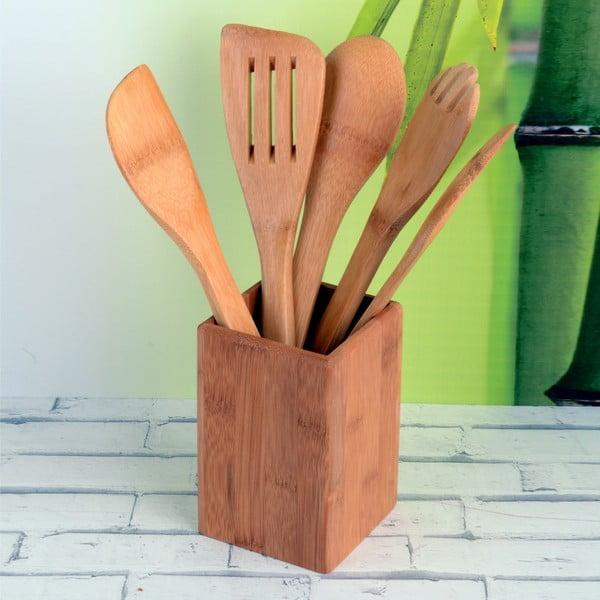 Zestaw 5 bambusowych przyborów ze stojakiem Luxy