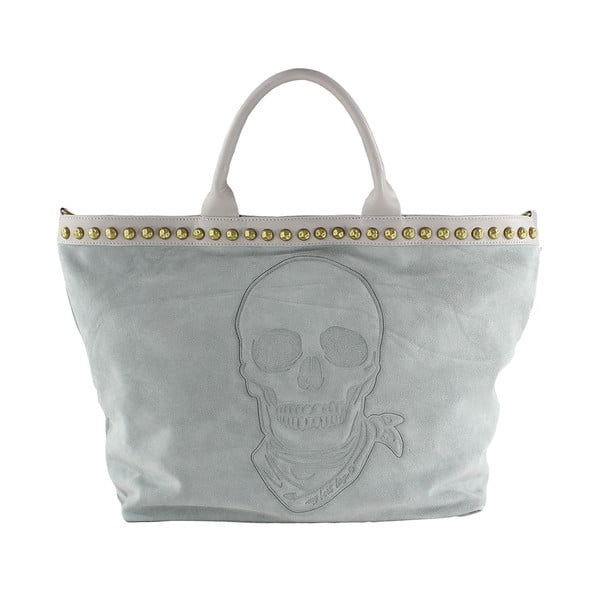 Skórzana torebka Skull, beżowa