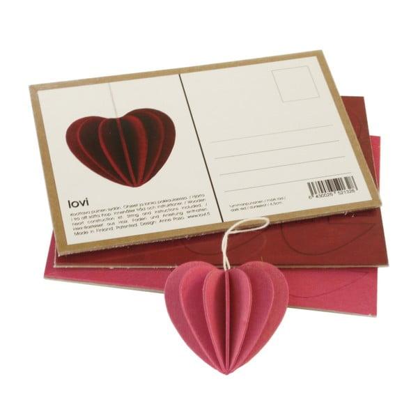 Składana pocztówka Heart Light Pink, 4.5 cm