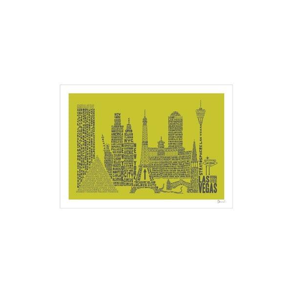 Plakat Las Vegas Green&Grey, 50x70 cm
