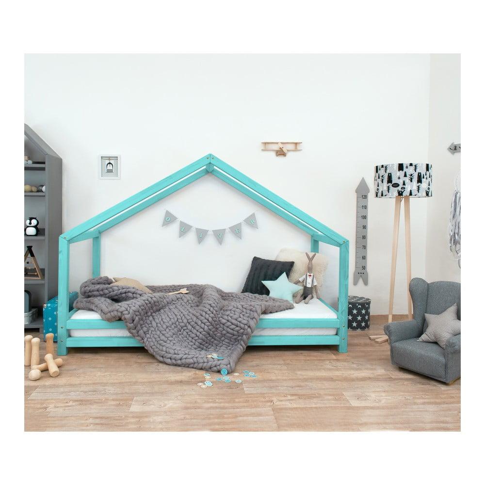 Turkusowe łóżko dziecięce z lakierowanego drewna świerkowego Benlemi Sidy, 90x180 cm