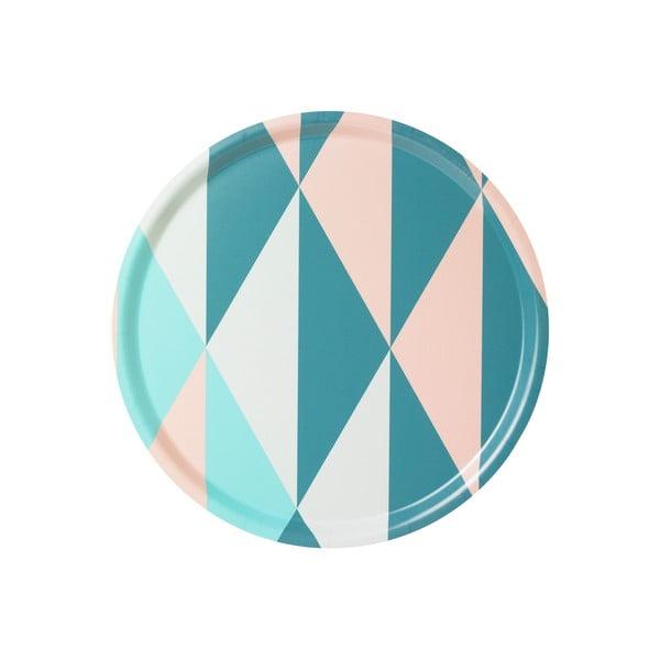 Taca ze wzorem geometrycznym, turkusowa