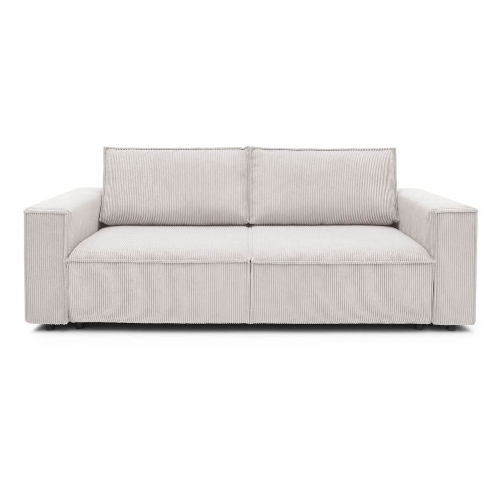 Kremowobiała sztruksowa sofa rozkładana Bobochic Paris Nihad, 245 cm
