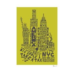 Plakat New York Green&Grey, 50x70 cm