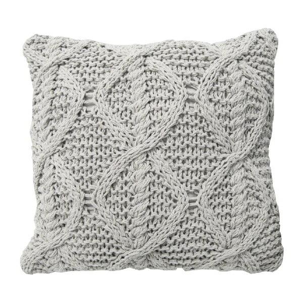 Kremowa poduszka dziergana Overseas, 45x45 cm