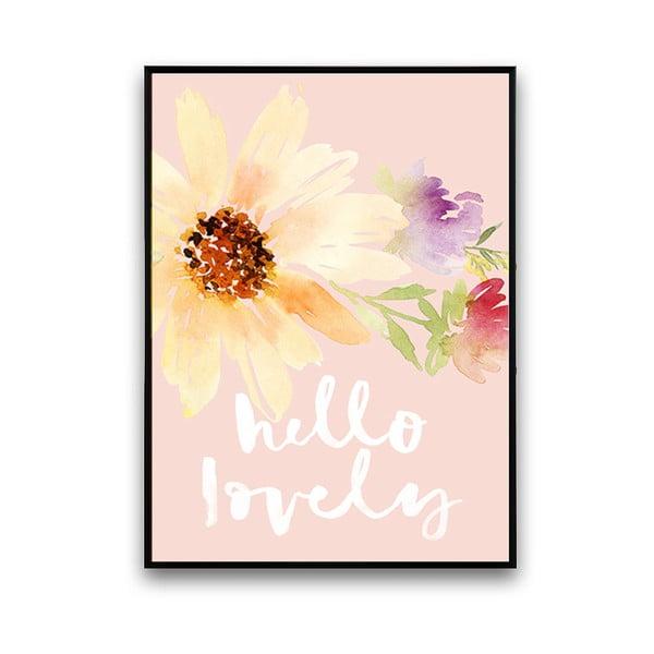 Plakat z kwiatami Hello Lovely, 30 x 40 cm