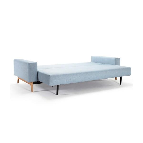 Jasnoniebieska sofa rozkładana z podłokietnikami Innovation Idun