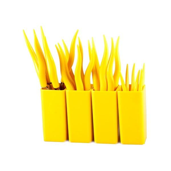 Zestaw 24 żółtych sztućców Vialli Design Tullio