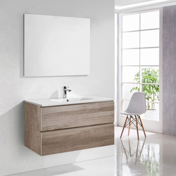 Szafka do łazienki z umywalką i lustrem Capri, motyw dębu, 100 cm