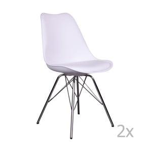 Zestaw 2 białych krzeseł House Nordic Oslo Chrome