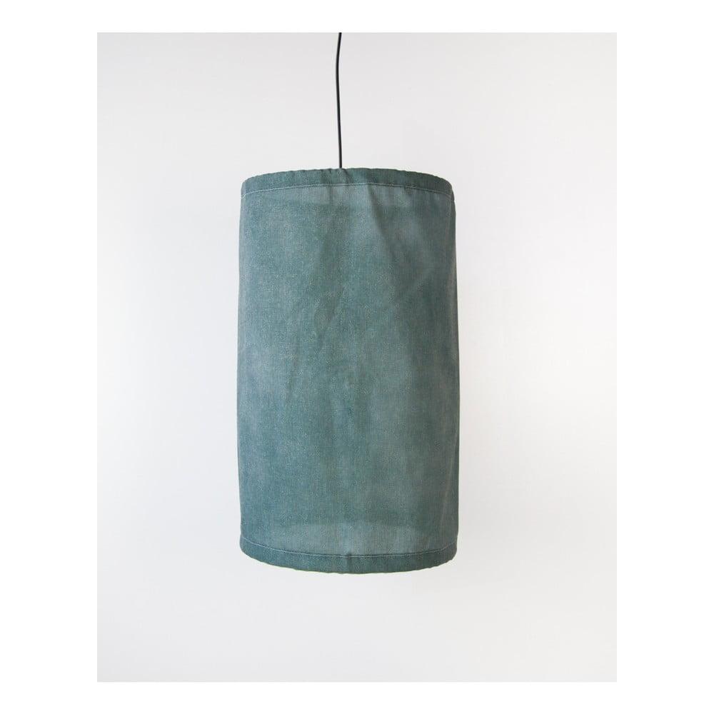 Zielona lampa wisząca z lnu i metalu Surdic, ø 35 cm