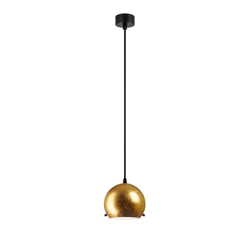 Lampa wisząca w złotej barwie z czarnym kablem Sotto Luce Myoo