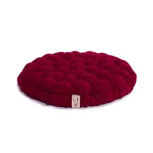 Cyklamenowa poduszka do siedzenia wypełniona piłeczkami do masażu Lindy Vrňáková Bloom, Ø 65 cm