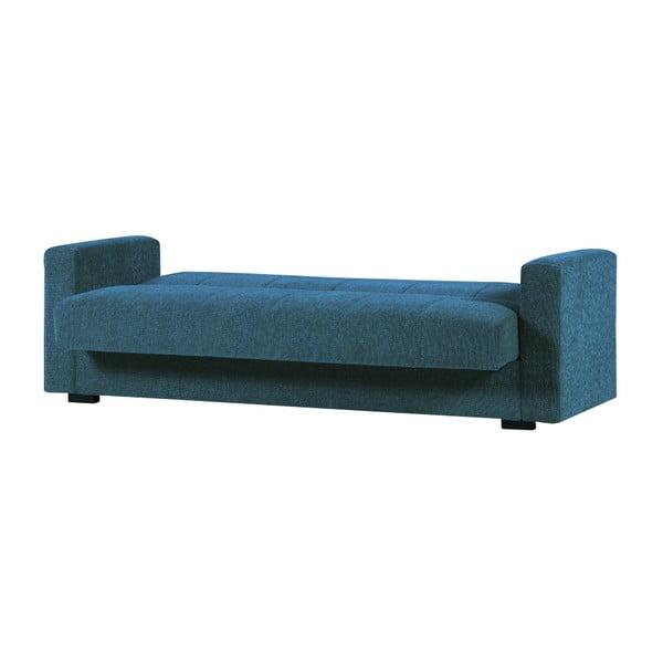 Niebieska trzyosobowa sofa rozkładana ze schowkiem Esidra Relax