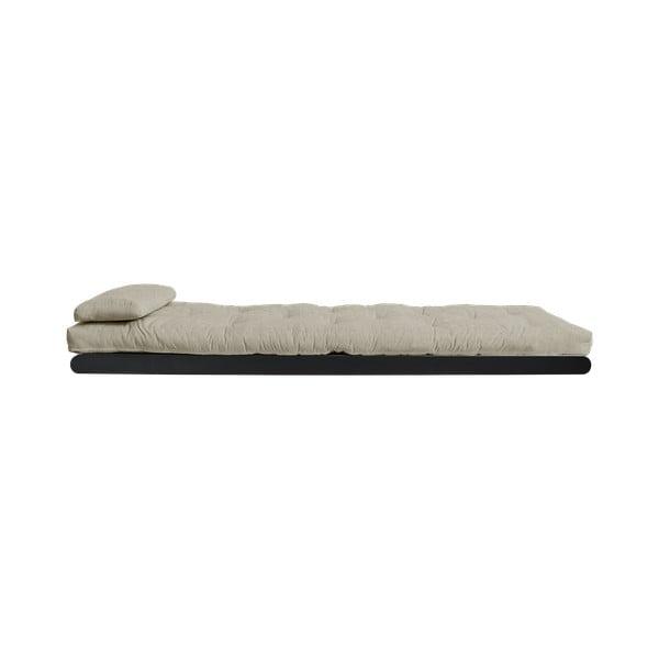 Sofa rozkładana z lnianym pokryciem Karup Design Figo Black/Linen