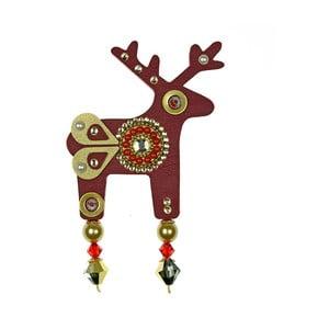 Czerwona duża broszka Deers Belisea