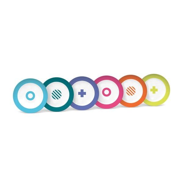 Zestaw 6 talerzyków deserowych Technicolor, 19 cm