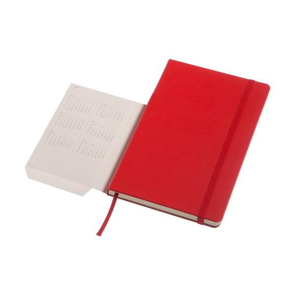 Czerwony tygodniowy kalendarz Moleskine Hard, 18 miesięcy, duży