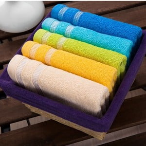 Zestaw 5 ręczników Purple Basket, 30x50 cm