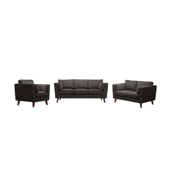 Zestaw fotela i 2 sof dwuosobowej i trzyosobowej Elisa, jasnokasztanowe