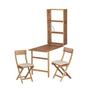 Komplet 2 krzeseł i stolik z półką z drewna akacjowego ADDU Serena