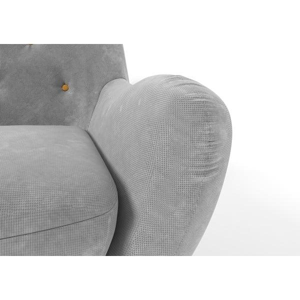 Szary   fotel z żółtymi guzikami Wintech Zefir