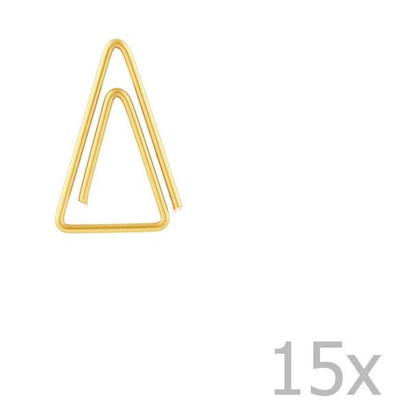 Zestaw 15 złotych spinaczy biurowych w kształcie trójkąta Monograph