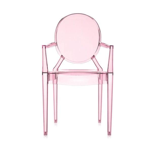 Krzesło Kartell Lou Lou Ghost, różowe