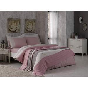 Pościel z prześcieradłem i narzutą Pink and Grey, 160x220 cm