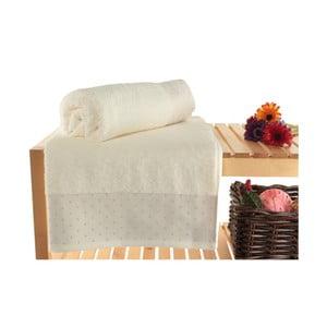 Zestaw 2 kremowych ręczników kąpielowych Patricia, 90x150 cm
