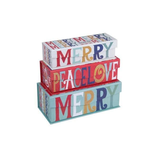 Zestaw 3 szt. pudełek Tri-Coastal Merry Peace Love