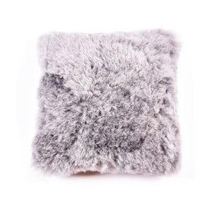 Dwustronna poduszka futrzana z krótkim włosiem Grey, 45x45 cm