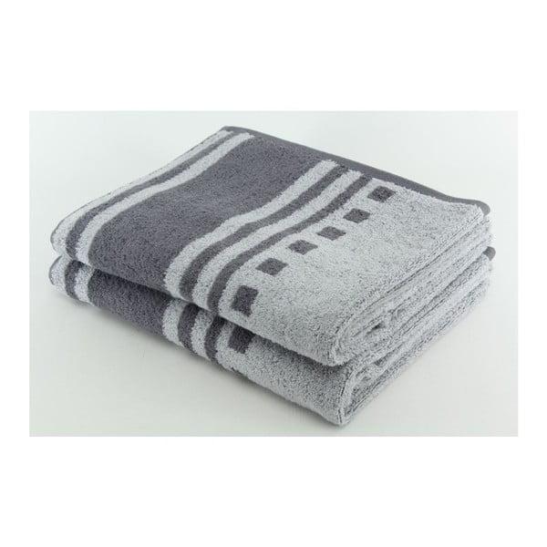 Komplet 2 ręczników Grey, 70x140 cm