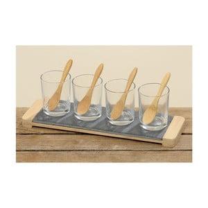 Zestaw szklanek z łyżeczkami i tacą, 4 szt.