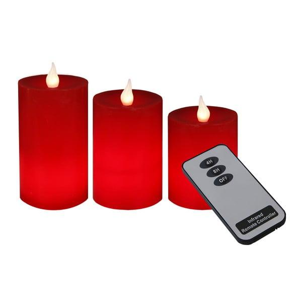 Zestaw 3 świeczek LED z pilotem Best Season Red