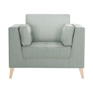 Jasnozielony fotel wykończone beżowym szwem francuskim Stella Cadente Atalaia