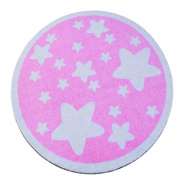 Dywan Deko - różowy w gwiazdy, 100 cm