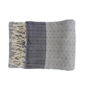 Niebieski ręcznie tkany ręcznik z bawełny premium Nefes,100x180 cm