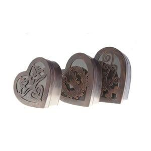 Zestaw 3 metalowych pudełek Hearts Antic