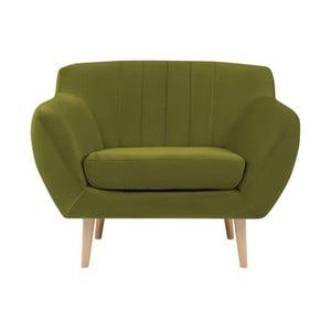 Zielony fotel z jasnymi nogami Mazzini Sofas Sardaigne