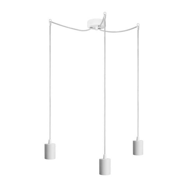 Biała trzyramienna lampa wisząca Bulb Attack Cero