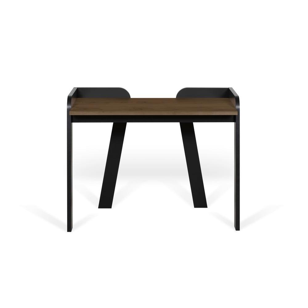 Czarne biurko z blatem w dekorze drewna orzechowego TemaHome
