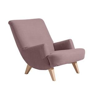 Jasnofioletowy fotel z jasnobrązowymi nogami Max Winzer Brandford