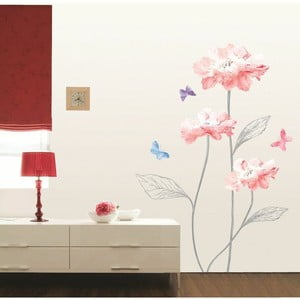 Naklejka Ambiance Light Pink Flowers And Butterflies