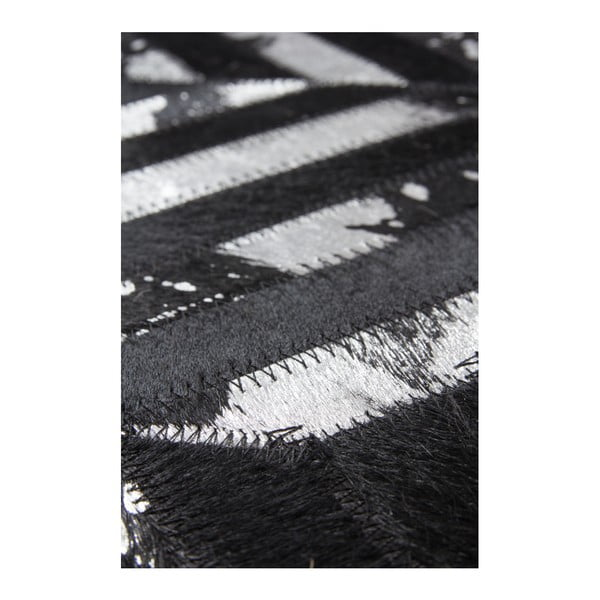 Srebrno-czarny skórzany dywan Daz, 80x150cm