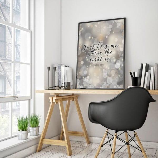 Plakat w drewnianej ramie Just keep me, 38x28 cm