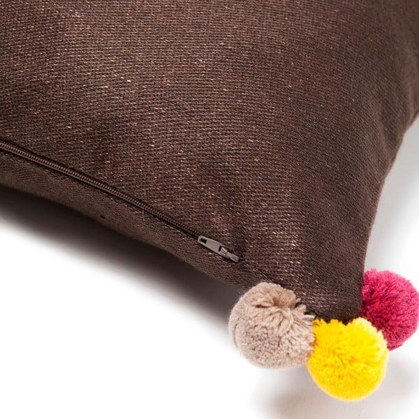 Brązowa poduszka Casa Di Bassi Pom Pom, 40x40 cm
